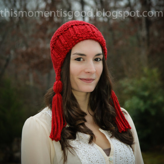 1625f24e467 Loom Knit Earflap Hat With Tassels Pattern. Loom Knitting PDF PATTERN!  Adult Teen Hat Pattern.