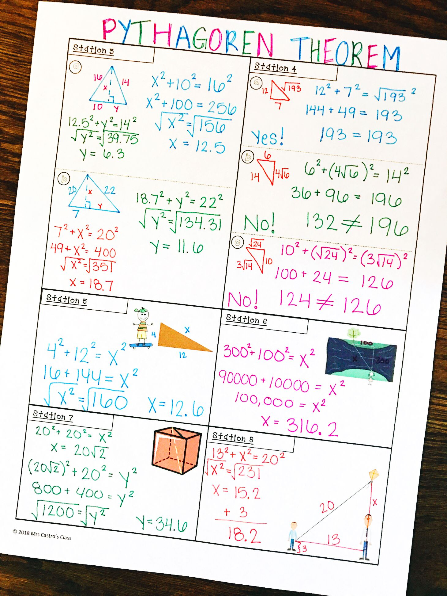 Pythagorean Theorem Stations Activity   Word problem worksheets [ 1944 x 1460 Pixel ]