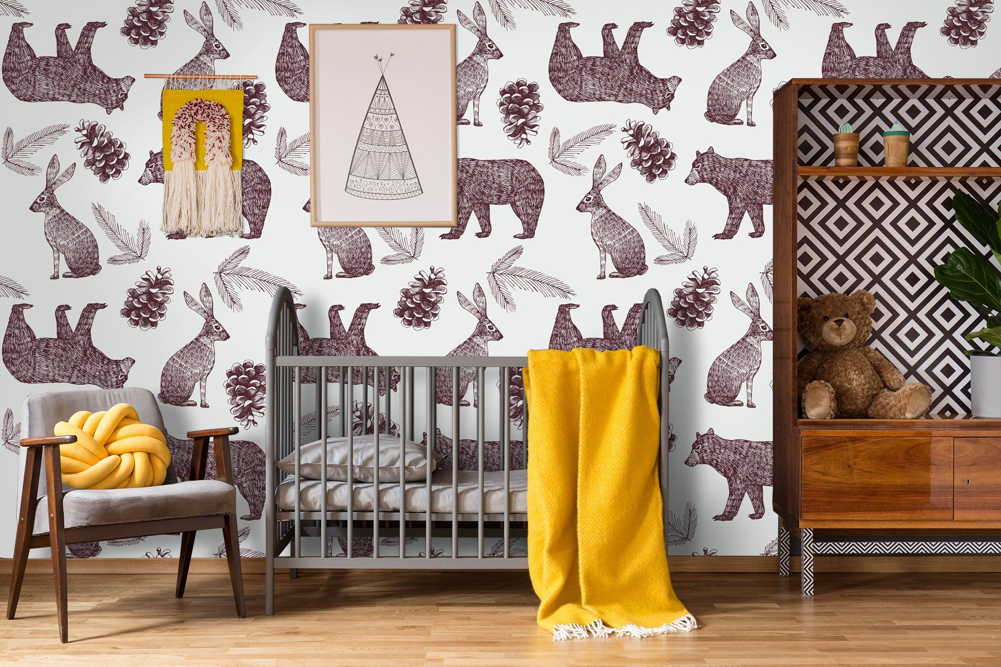 Beautiful Animal Wallpaper Hand Drawn Pattern With Bear Etsy Hand Drawn Pattern Animal Wallpaper How To Draw Hands