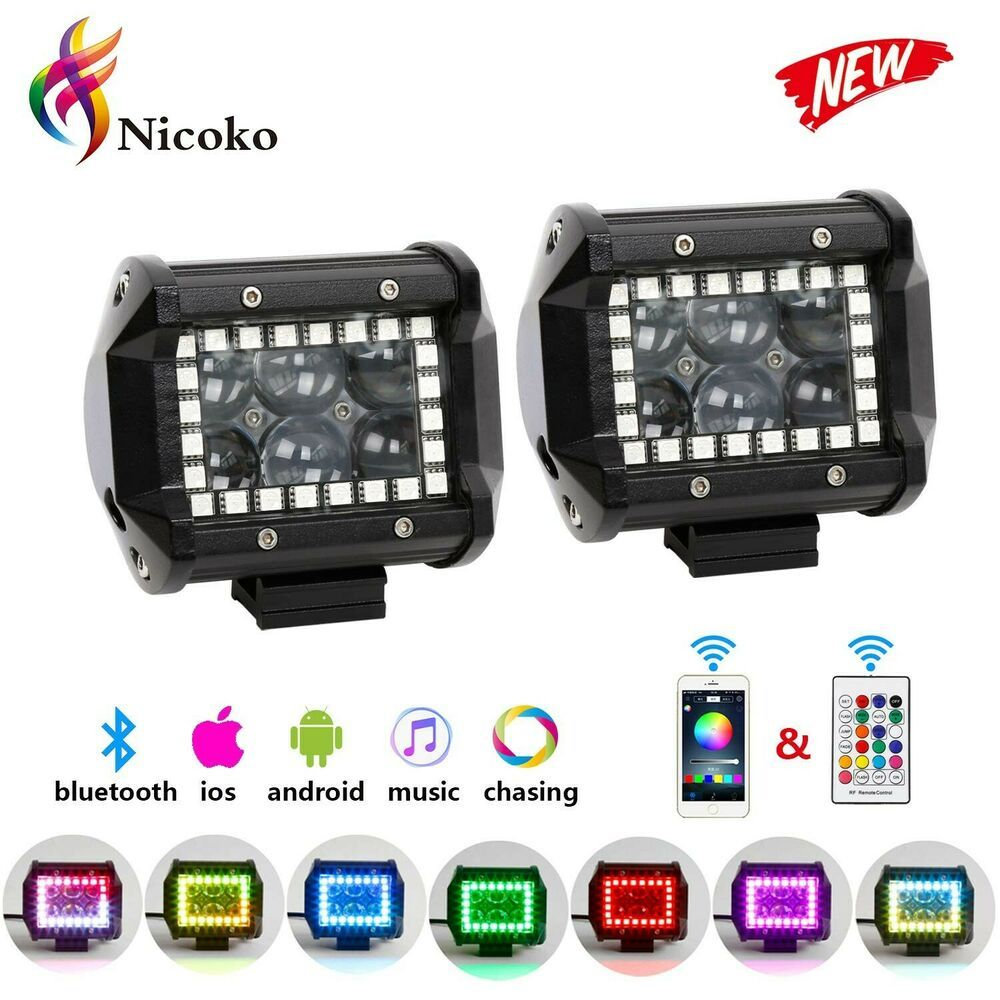 18w 4inch Cree Led Work Light Bar With Multi Color Chasing Rgb Halo 10 Solid Col Halo Led Work Light Cree Led Work Lights