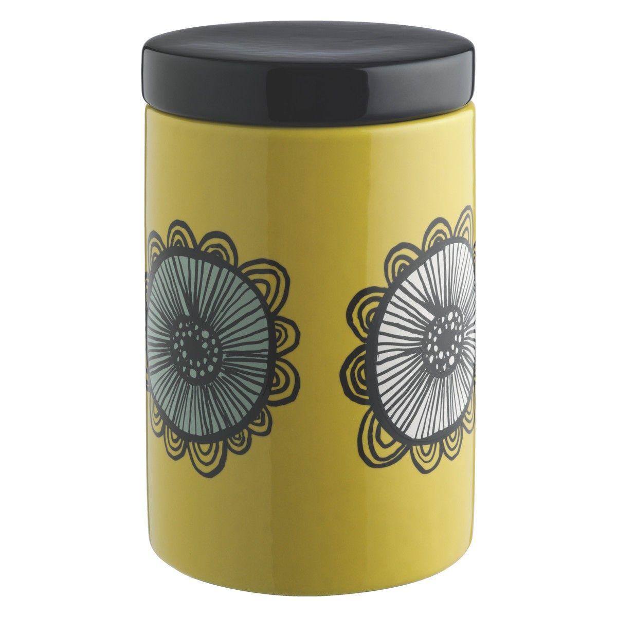 Yellow Kitchen Storage: FREDA Saffron Yellow Floral Storage Jar H16cm