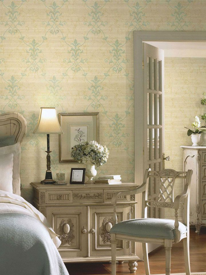 Linen Damask Wallpaper from the Willow Woods Collection by York. #bedroom #homedecor #wallcovering