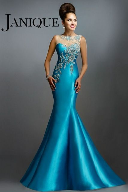 2016 Azul Turquesa Vestido de Noche Inspirados por JANIQUE Sirena