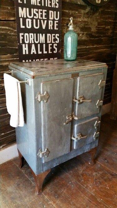 Antique Ice Box Repurposed Into Bar Liquor Wine Cabinet