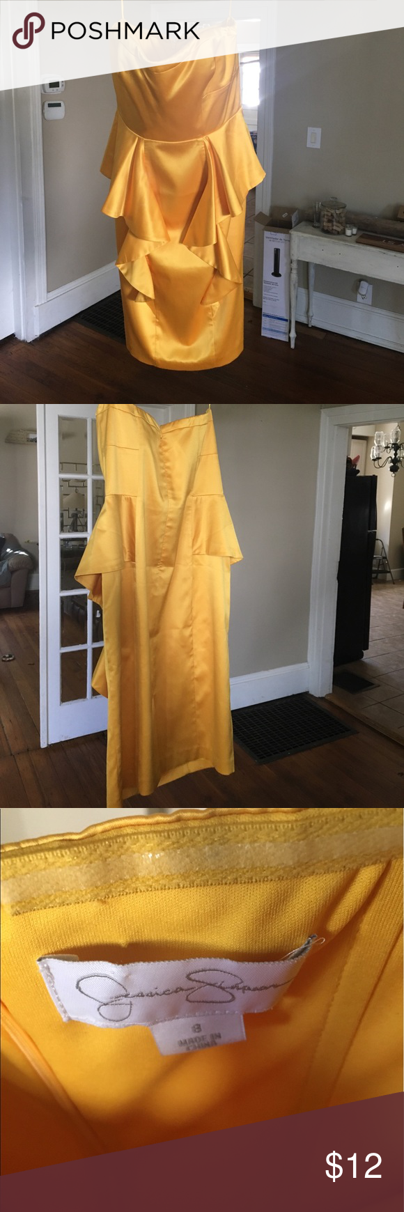 Jessica simpson yellow cocktail dress