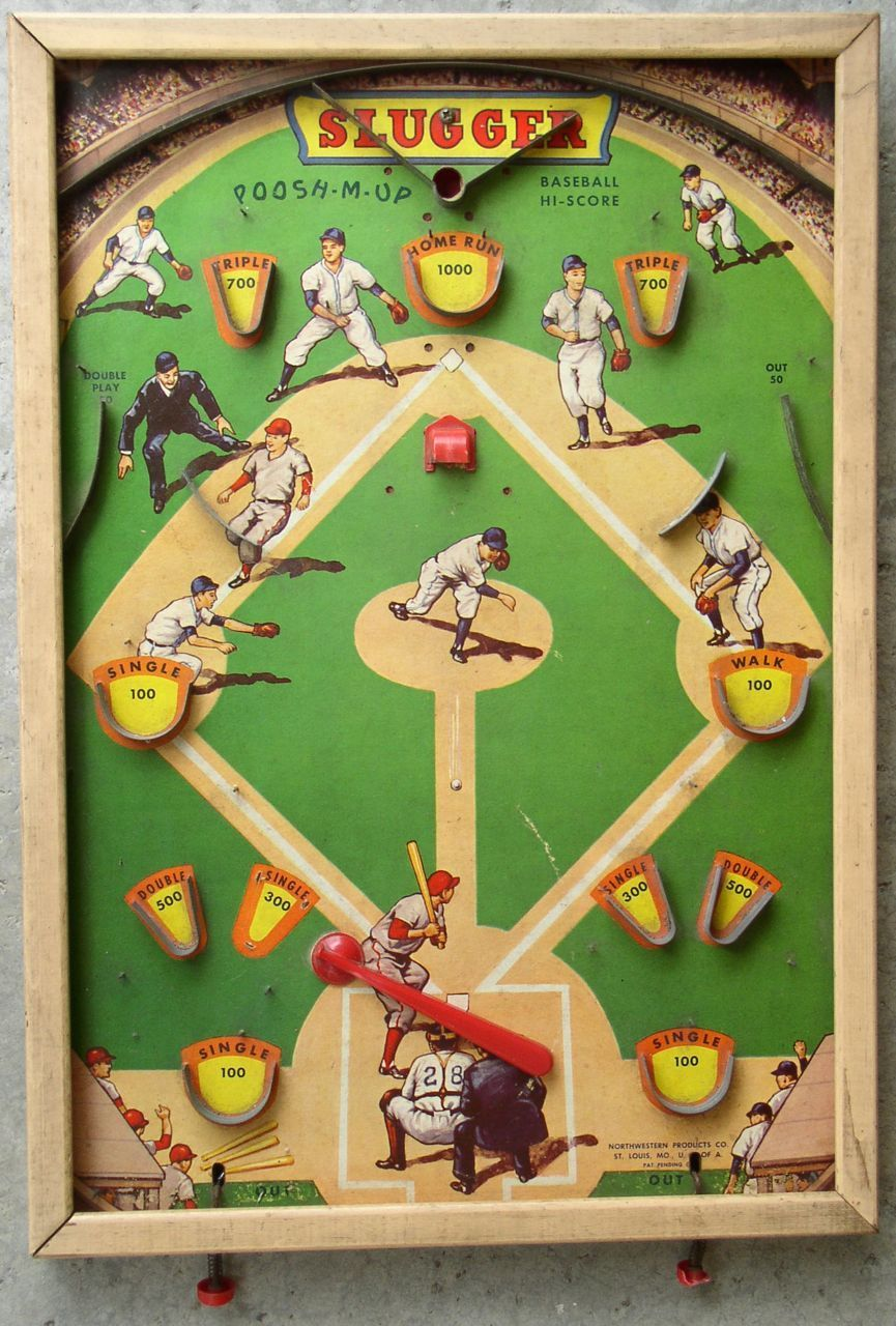 "1946 ""Slugger"" Baseball Pinball Game Wall Art! I want this"
