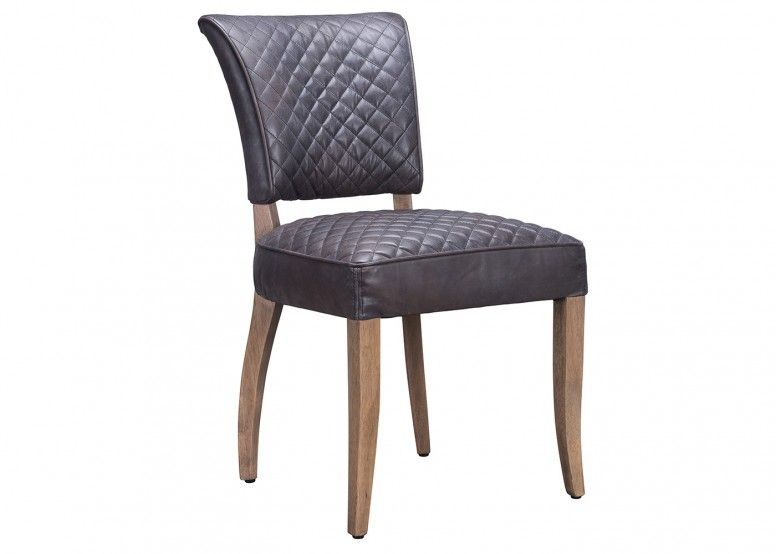 Mimi Quilt Dining Chair Destroyed Black Leather Dining Chairs