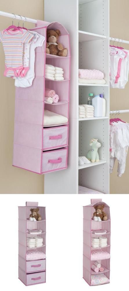 ICYMI: Hanging Closet Clothes Organizer 6 Shelves 2 Drawers Storage Kids  Bedroom Pink