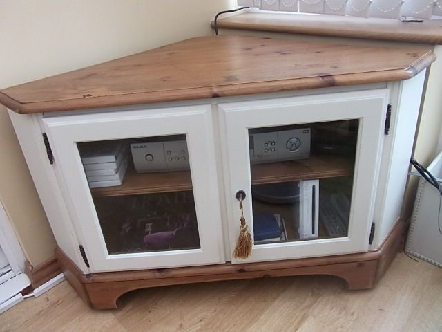 solid pine DUCAL country shabby chic style large tv corner stand unit