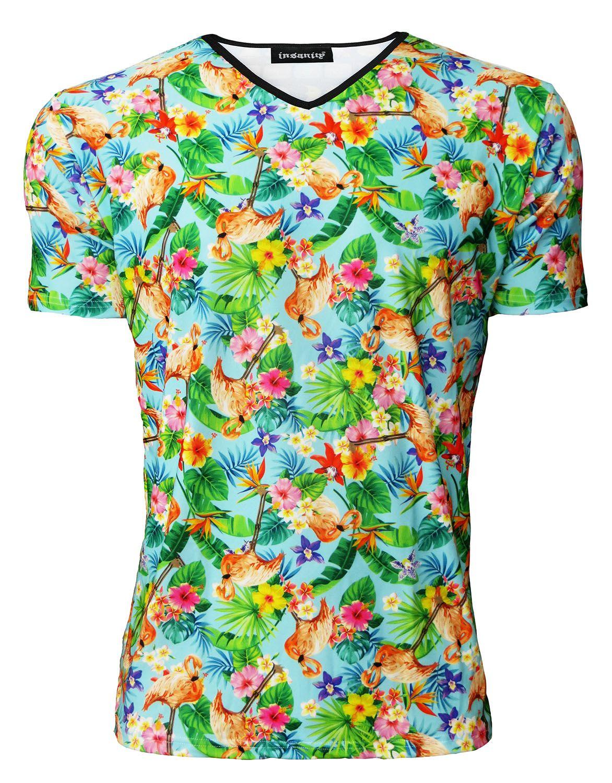 Men/'s Tropical Flamingo Hawaiian Floral Vintage Printed V-Neck TShirt Tee Top