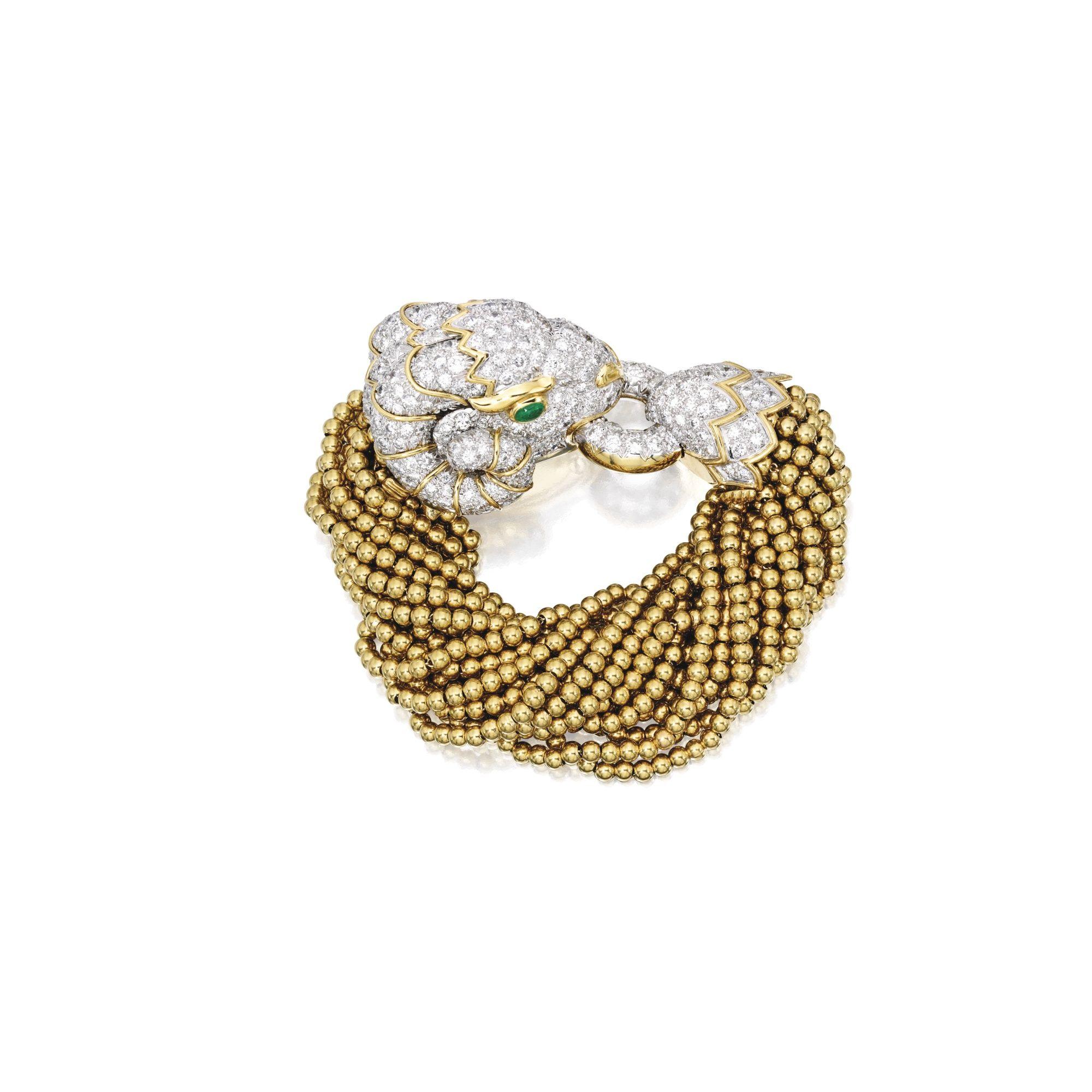 05048ebabc4 18 Karat Gold, Platinum, Diamond and Emerald Bracelet, David Webb The clasp  designed as a pavé-set ram's head set with round diamonds weighing  approximately ...