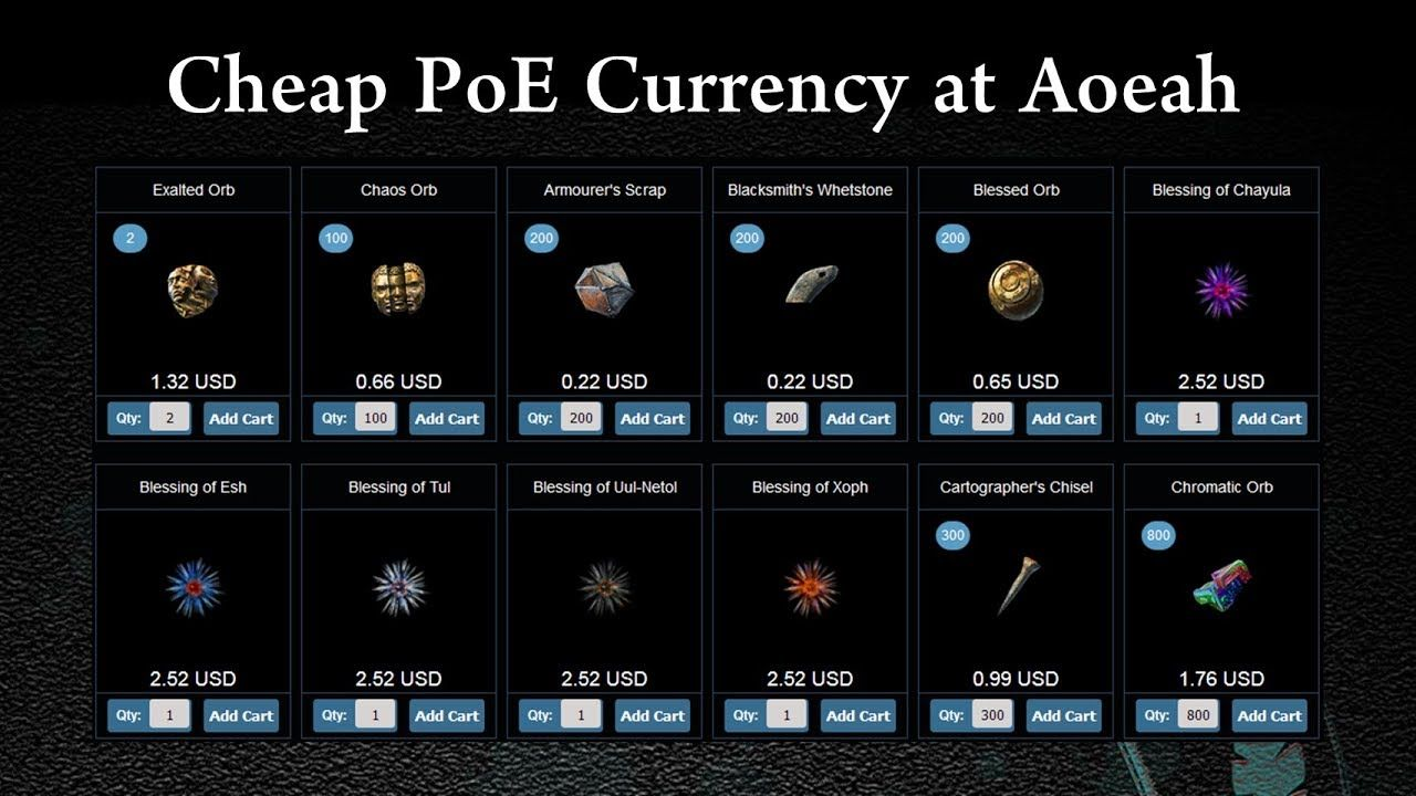 Cheap PoE Currency at Aoeah: 5-10 Mins Fast Delivery   buy