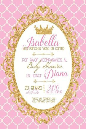 Invitacion Imprimible Personalizable Babyshower Princesa