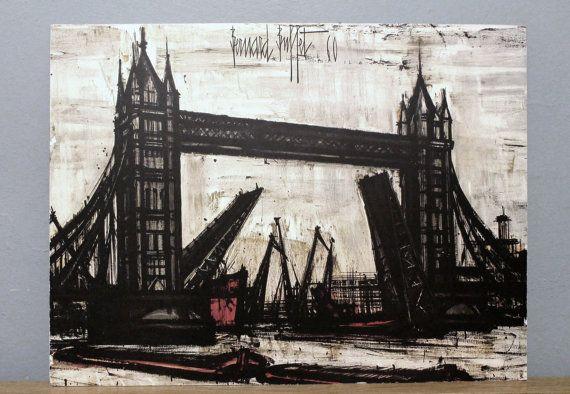 Fabulous Bernard Buffet Tower Bridge 18X24 Lithograph 1960 By Modfolk Interior Design Ideas Inesswwsoteloinfo