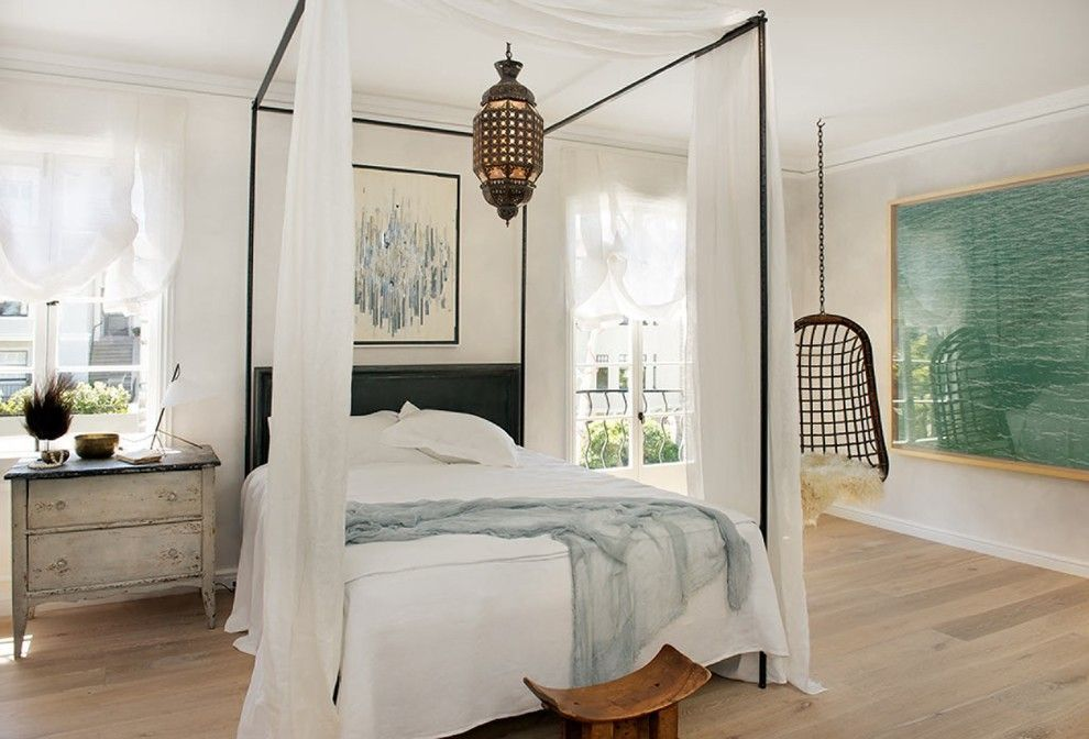 Modern Four Poster Bed in Eclectic, Art and Light-Filled Home//Shabby Chic Dresser