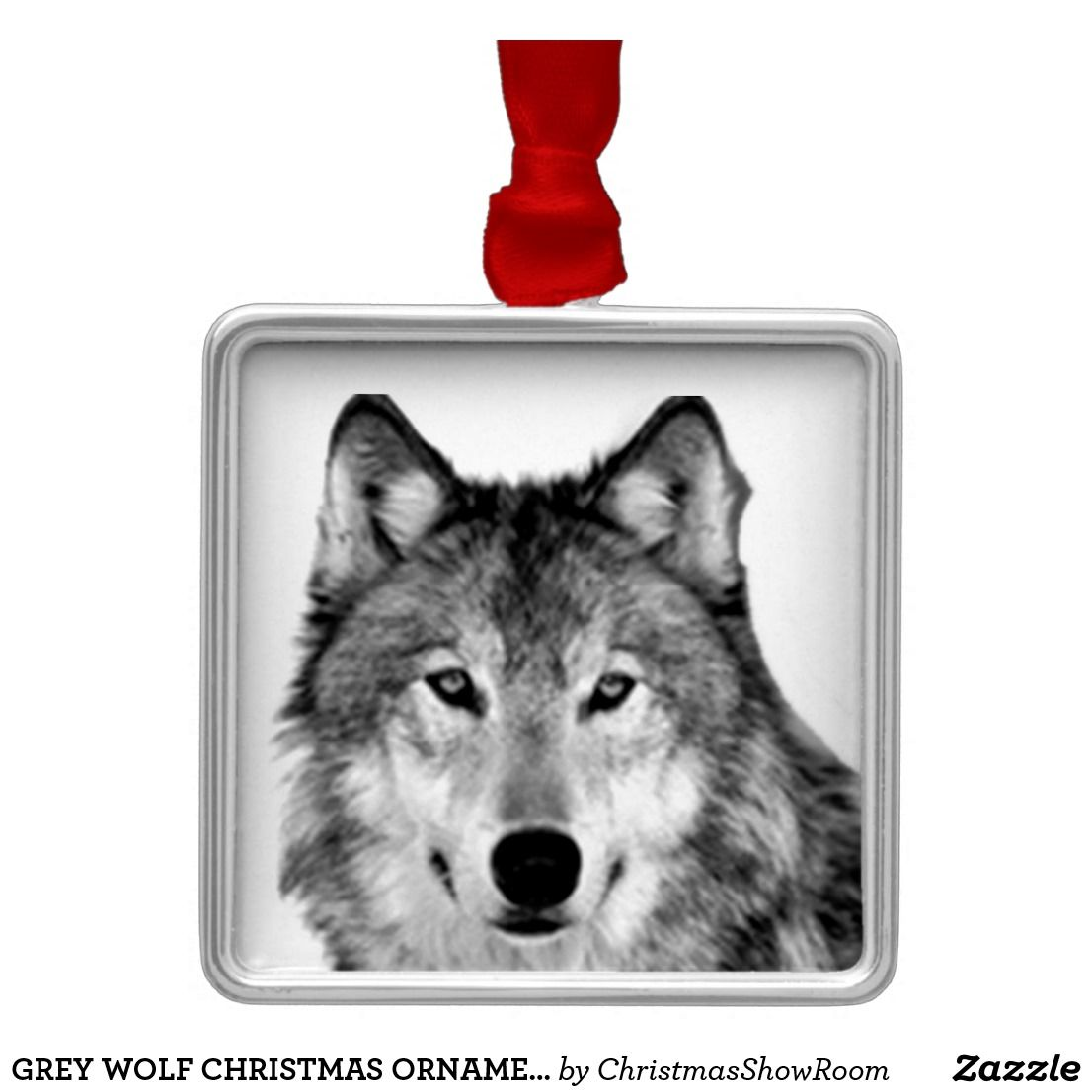 Grey wolf christmas ornament | Gray wolf and Christmas ornament