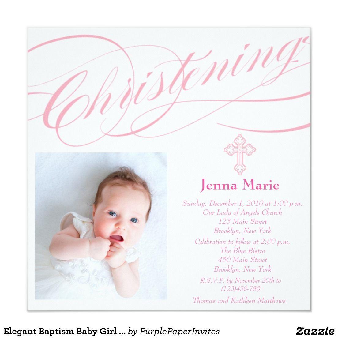 Elegant Baptism Baby Girl Photo Invitation Zazzle Com