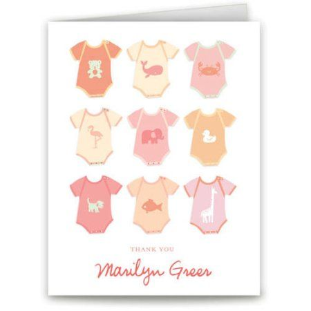 Onesies Baby Thank You Card, Orange