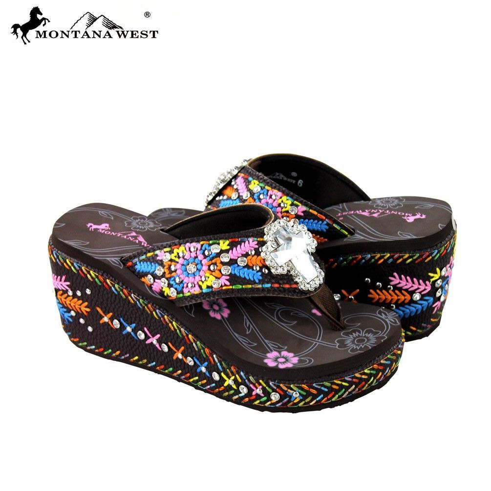 a9d855202 Montana West Embroidered Platform Flip-Flops Collection  Solid crystal  cross outlined with rhinestones - Floral design with the Montana West logo  on the top ...
