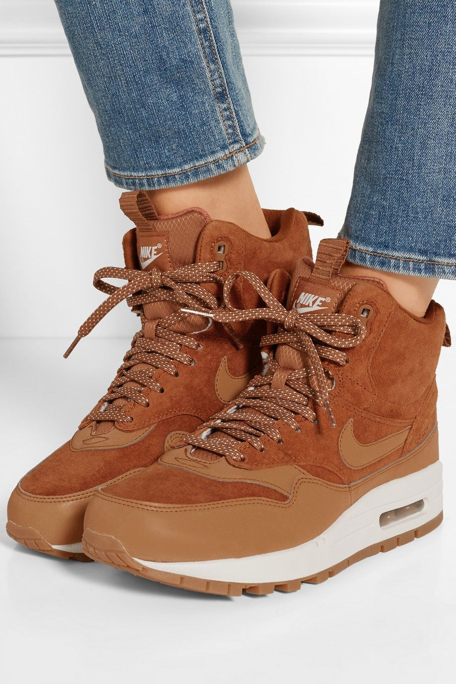 Nike | Air Max 1 suede and leather high top sneakers | NET A