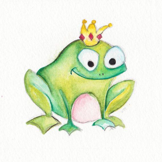 Baby Art Francis The Frog Prince Original Watercolor By Brilliantcritter Kissme Frosch Zeichnung Zeichnung Tiere