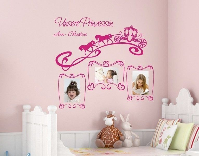 wunschtext wandtattoo unsere prinzessin fotoshooting fotorahmen wandgestaltung mit fotos. Black Bedroom Furniture Sets. Home Design Ideas