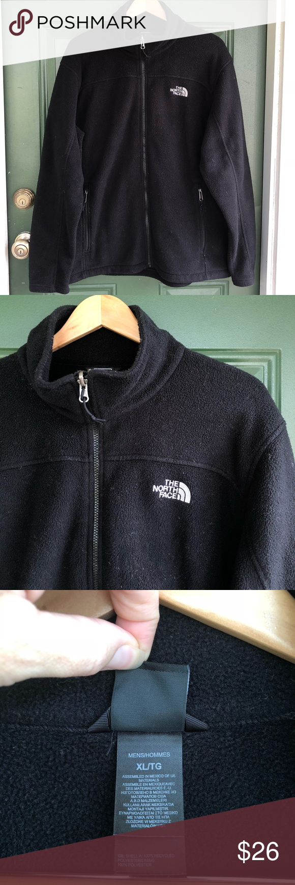 Thick black north face fleece zip up jacket coat my posh picks