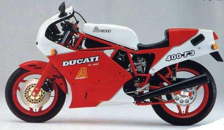 "1986 Ducati 400 F3 Ducati 400F3 Air cooled, four stroke, 90°""L"" twin cylinder, Desmo SOHC."