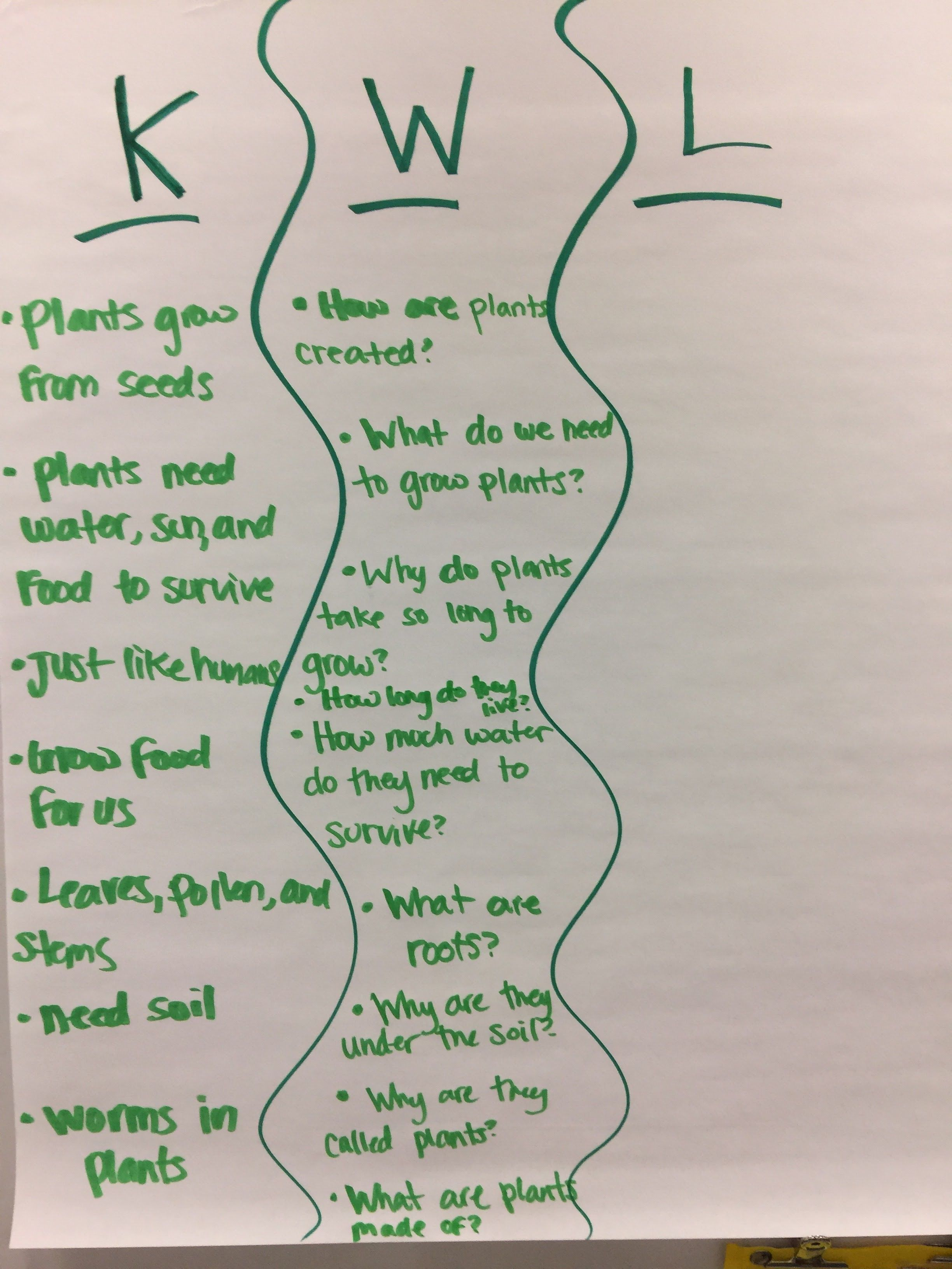 Plants kwl anchor chart my 2nd grade classroom for Soil 2nd grade