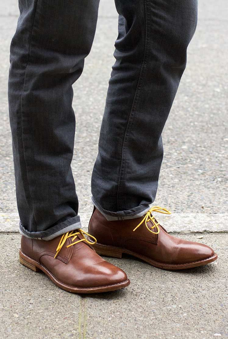 469fe1b8559 MOMA men s chukka boot with yellow laces. Available at resoul.com ...