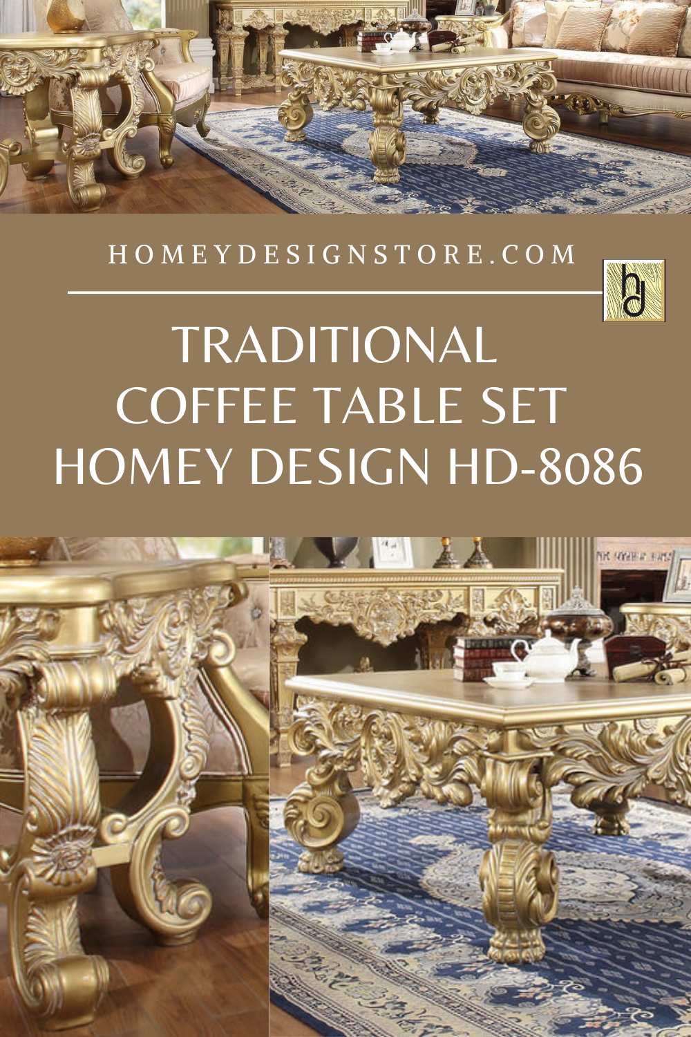 Antique Gold Perfect Brown Coffee Table Set 3pcs Traditional Homey Design Hd 8008 Hd 8008 Ctset3 Traditional Coffee Table Brown Coffee Table Coffee Table Setting [ 1080 x 1174 Pixel ]