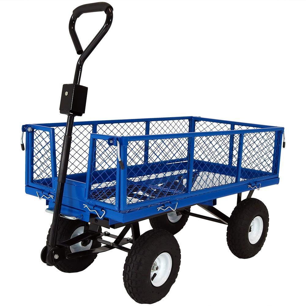 Sunnydaze Decor Blue Steel Heavy Duty Utility Cart With Folding