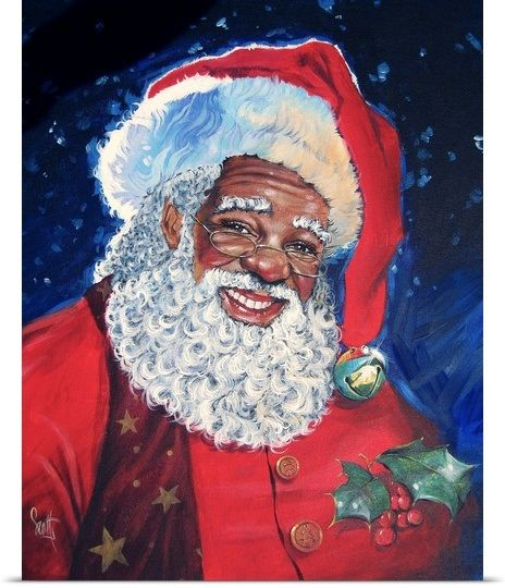 African american santa photo canvas prints africans and - African american christmas images ...