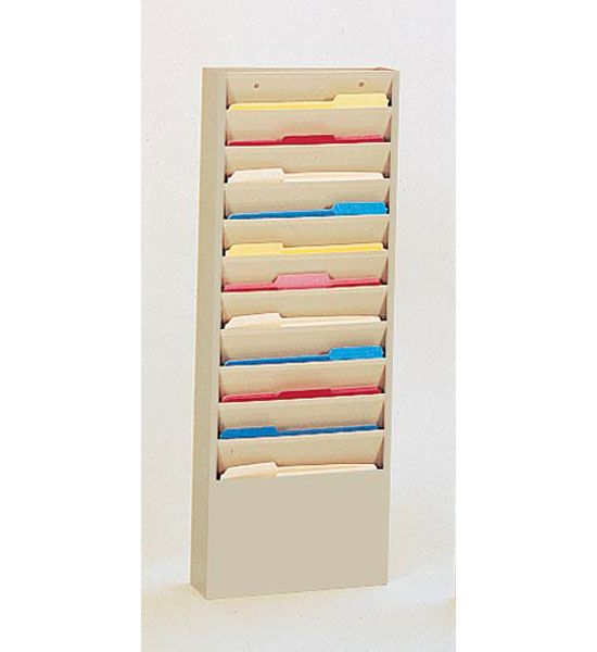 Mounted 11 Pocket Steel Wall File Tan