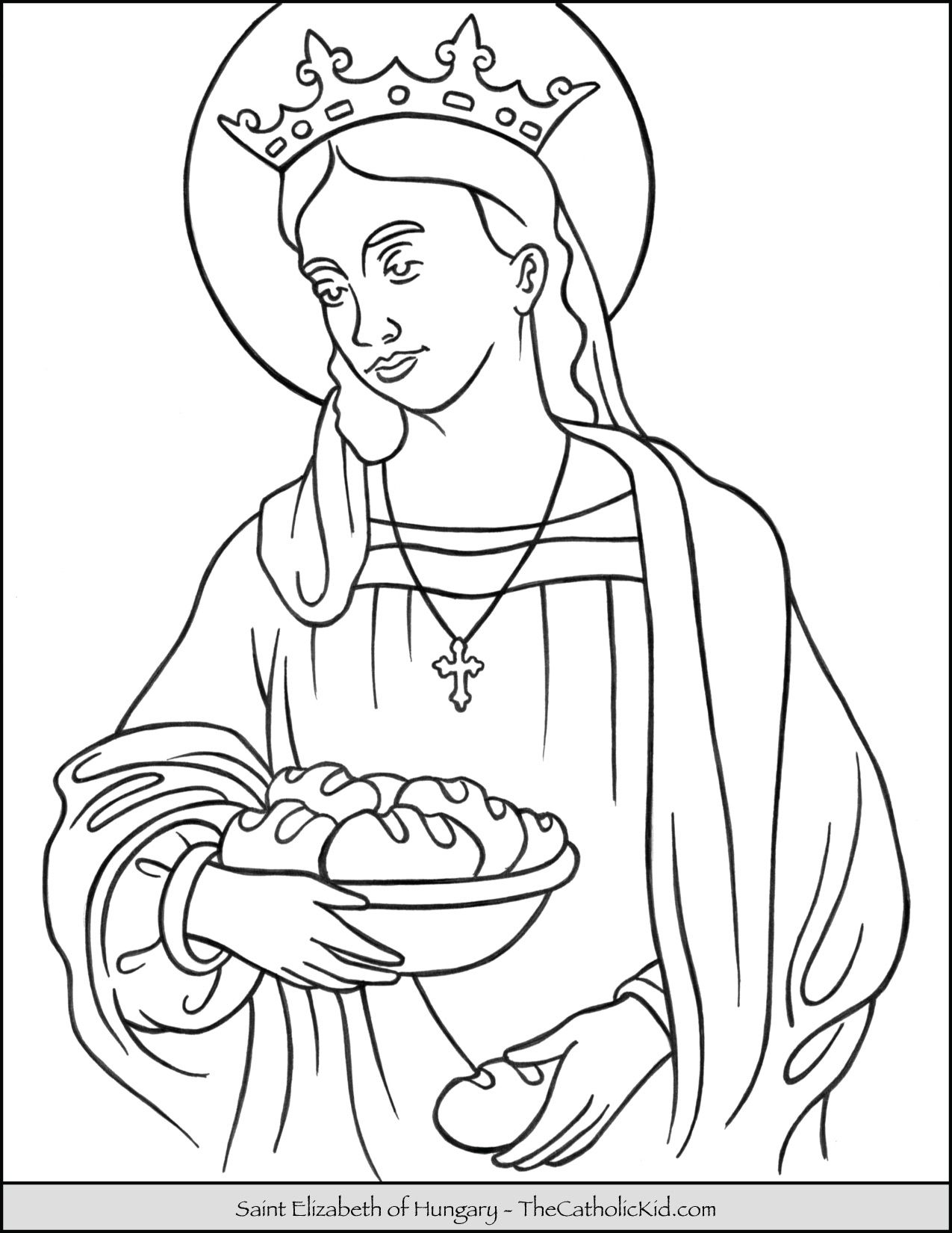 Saint Elizabeth Of Hungary Coloring Page Saint elizabeth