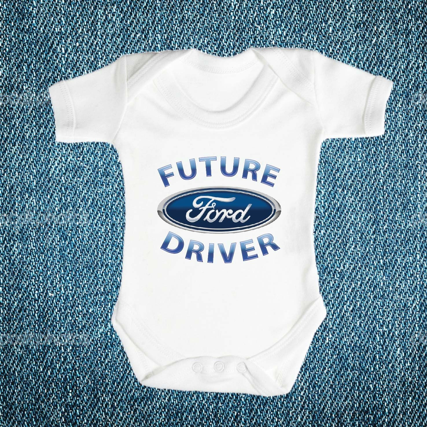 BABY BIB white cotton printed with FUTURE MUSTANG DRIVER  baby bib