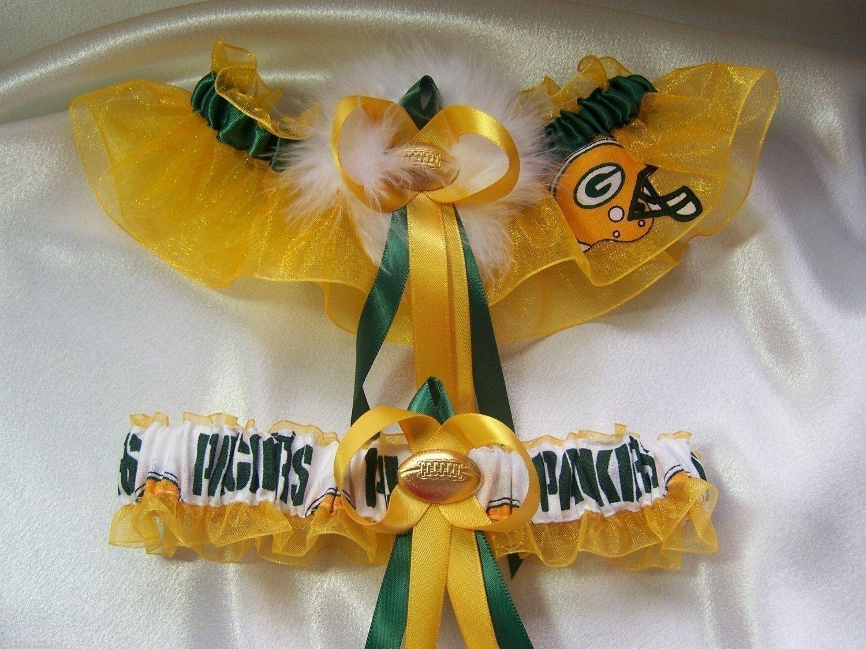 Green Bay Packers handmade bridal wedding toss garter