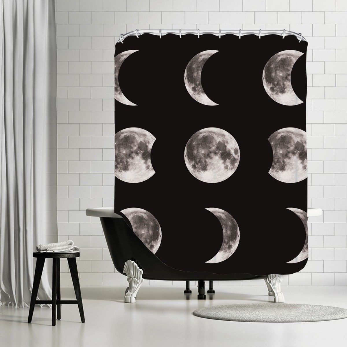 The Glass Mountain Moon Phases By The Glass Mountain Shower Curtain Colorful Curtains Artwork Design Shower Curtain Rods