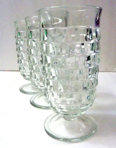 Indiana Glass Whitehall Pattern Blue Frosted Glasses