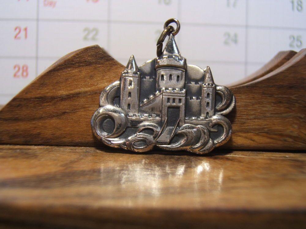 Sterling Silver Antiqued Castle Charm Pendant