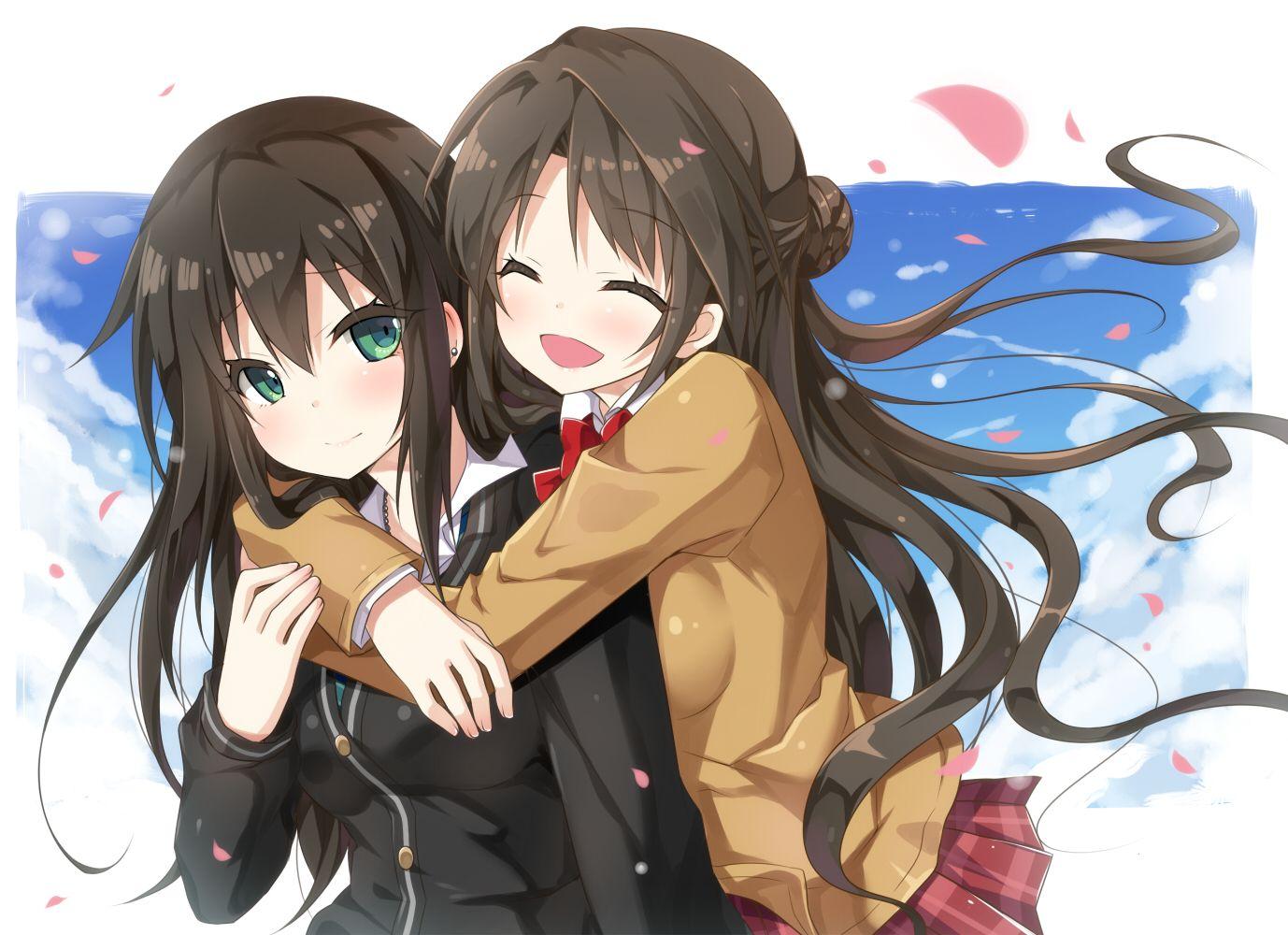 2girls blush brown hair green eyes hug idolmaster