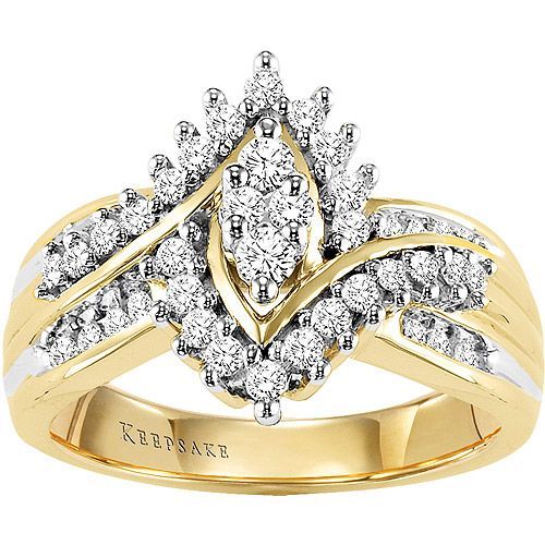 Keepsake Shimmering 1 2 Carat T W Certified Diamond 10kt Yellow Gold Ring Walmart Com Yellow Gold Rings Gold Rings Certified Diamond