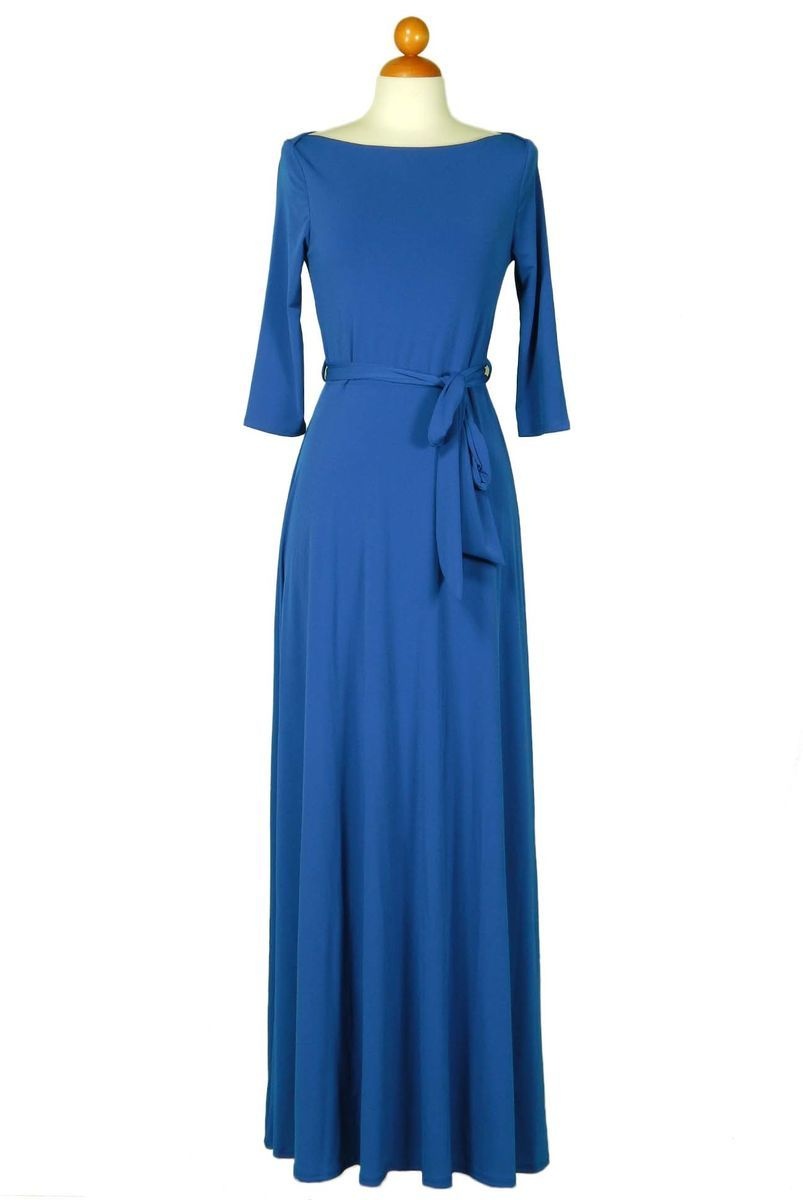 Solid royal blue sleeve boat neck maxi dress maxi dress