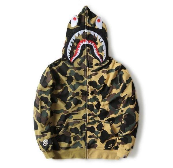 Bape A Bathing Ape Black Skull Camo Casual Hoodie Coat Jacket Zipper Sweatshirt