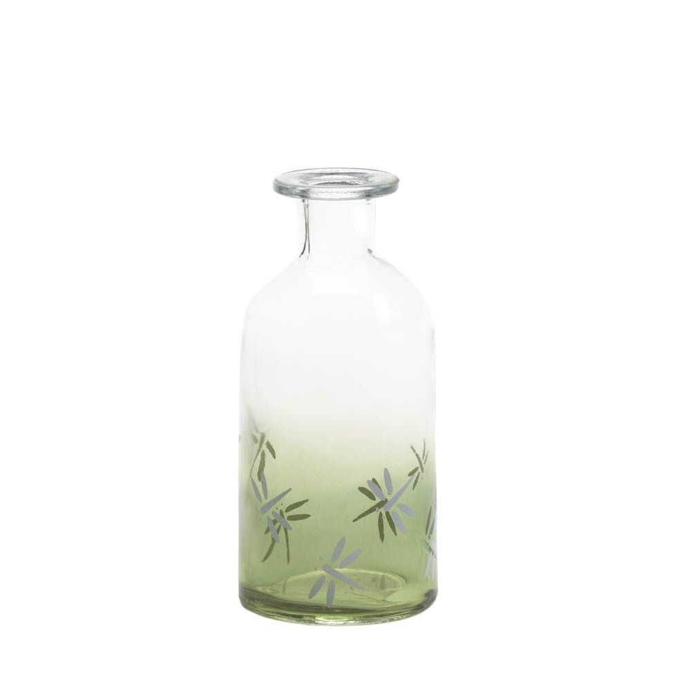"Glass Bottles Decorative 6"" Clear Green Dragonfly Glass Bottle Decorative Accent Vase"