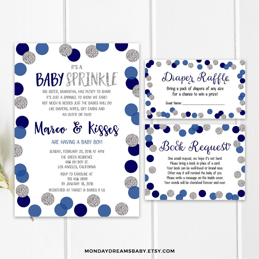 Blue Baby Sprinkle Invitation Printable Silver Confetti Baby   Etsy (With  images)   Baby sprinkle invitations, Sprinkle invitations, Baby sprinkle  invitations boy