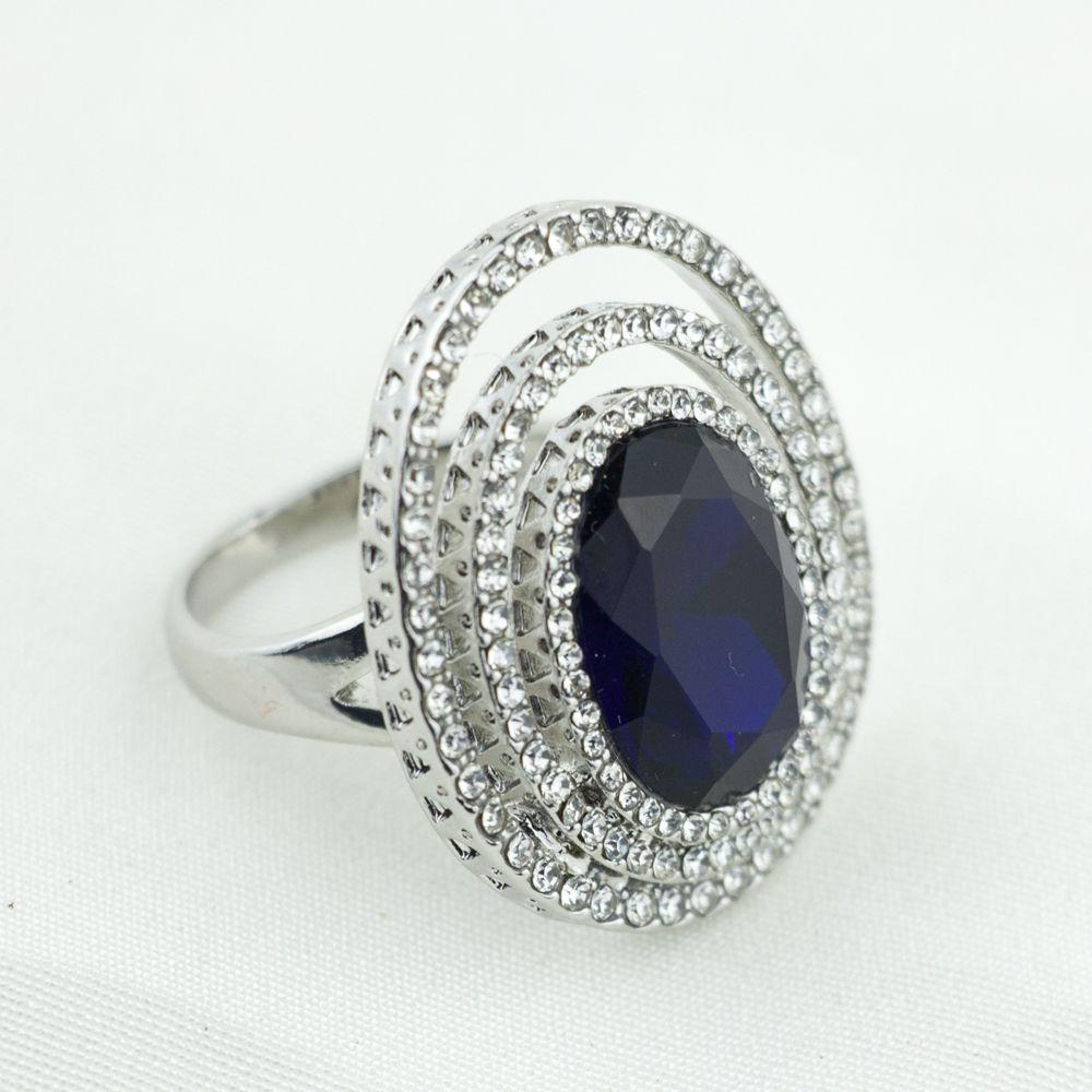 AIPAN WomensTrendy Moda Anillos de Cristal Estilo Vintage Oval Azul Anillo de Piedra Para Las Señoras JZ-012