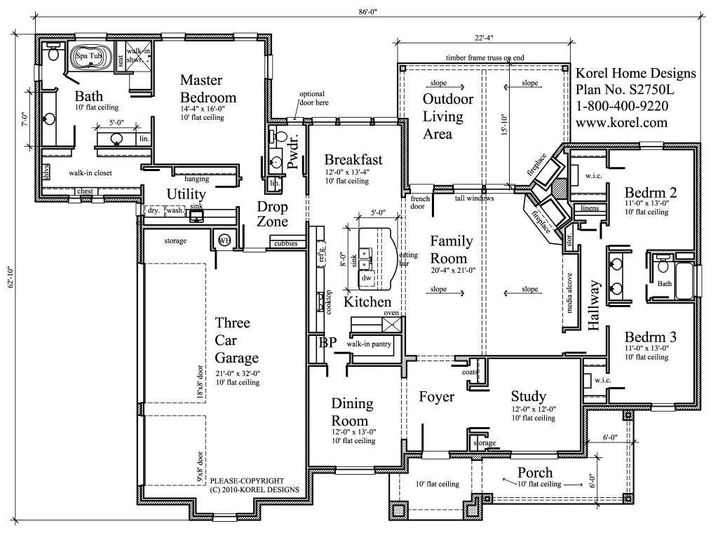 House plans by korel home designs house plans for House plans with laundry room attached to master bedroom