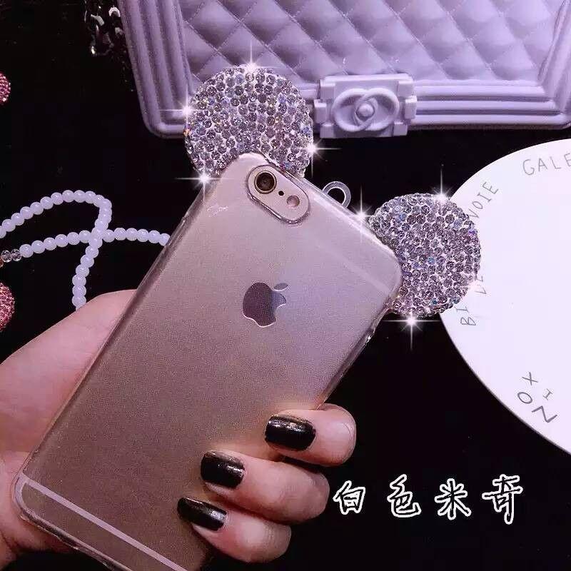 Luxury 3D Diamond Mickey Mouse Ears Phone Case For iPhone 5 5S SE 6 6G 6S 6Plus                                                                                                                                                     Más