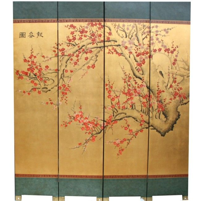 Antique Chinese Four Panel Screen With Silk On Wood Panels Painted In Cherry Blossom Design Upper Left Has Calligraphy That Usually Would Be Either The